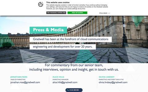 Screenshot of Press Page gradwell.com - Press and Media | Gradwell Communications - captured Aug. 20, 2019