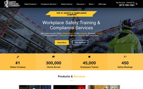 Screenshot of Home Page safetyservicescompany.com - OSHA Compliant Safety Training Products | Safety Services Company - captured July 16, 2018