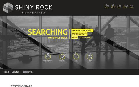 Screenshot of Testimonials Page shinyrock.co.za - Testimonials | Shiny Rock Properties | South Africa's leading property specialists. - captured Nov. 5, 2017