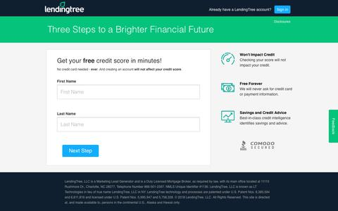 Screenshot of Signup Page lendingtree.com - LendingTree.com - My LendingTree - captured Oct. 25, 2018