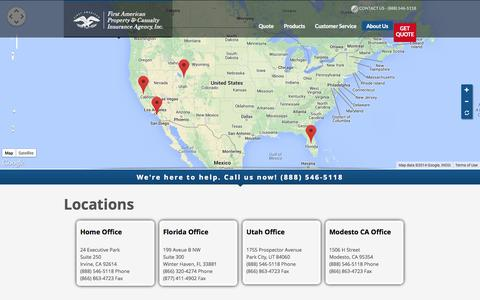 Screenshot of Locations Page fapcia.com - Locations - First American Property and Casualty Insurance Agency - captured Oct. 6, 2014