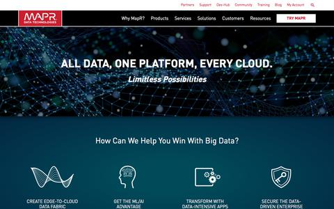 Screenshot of Home Page mapr.com - The Only Converged Data Platform | MapR - captured Feb. 14, 2018