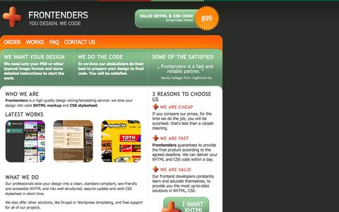 Screenshot of Home Page frontenders.com - Frontenders.com: XHTML & CSS slicing service - captured Oct. 6, 2014
