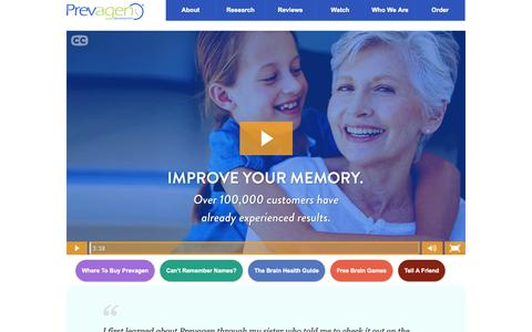 Screenshot of Home Page prevagen.com - Prevagen | The #1 Selling Memory Supplement in Pharmacies - captured Nov. 13, 2015
