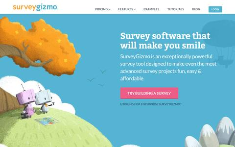 Screenshot of Home Page surveygizmo.com - SurveyGizmo | Professional Online Survey Software & Tools - captured Aug. 29, 2015