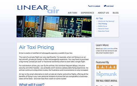 Screenshot of Pricing Page linearair.com - Air Taxi Pricing | Cost of a Private Flight - captured Oct. 28, 2014