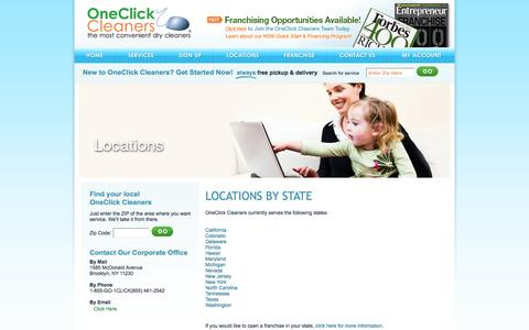 Screenshot of Locations Page oneclickcleaners.com - Locations - Dry Cleaning, Wash & Fold, Online Pickup & Delivery Service - captured Oct. 26, 2014