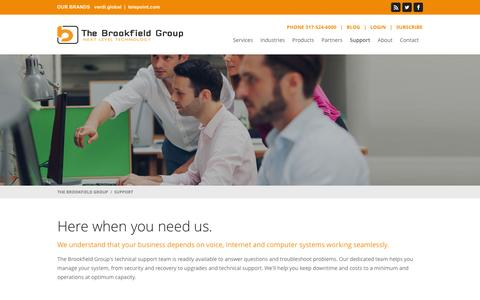 Screenshot of Support Page thebrookfieldgroup.com - The Brookfield Group :: Support - captured Jan. 11, 2016