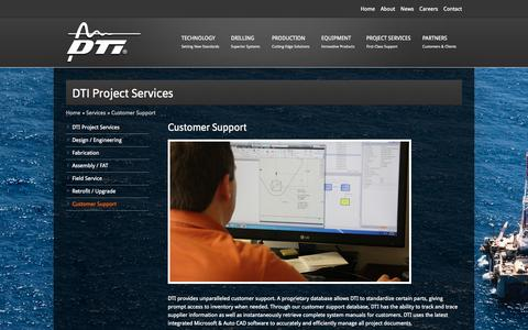 Screenshot of Support Page dtillc.com - DTI Customer Support, Production and Manufacturing Engineering Support - captured Sept. 30, 2014