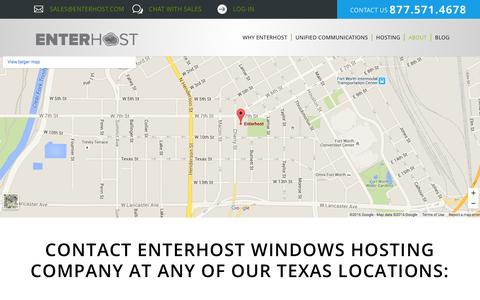 Screenshot of Contact Page Locations Page enterhost.com - Locations - Enterhost - captured July 14, 2016