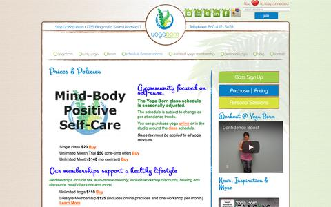 Screenshot of Pricing Page yogaborn.com - fees, payment, costs, investment   Yoga Born Studios   Yoga & Healing Arts   1735 Ellington Road, South Windsor CT   860-432-5678 - captured Sept. 21, 2018