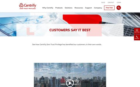 Screenshot of Testimonials Page centrify.com - Customers Say it Best | Centrify - captured Jan. 23, 2019