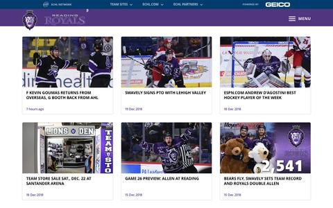Screenshot of Press Page royalshockey.com - News - captured Dec. 20, 2018