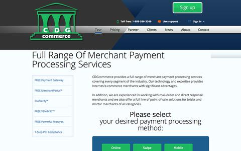 Screenshot of Services Page cdgcommerce.com - Credit Card Payment Processing Merchant Account Services by CDG Commerce - captured Sept. 23, 2014