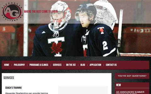 Screenshot of Services Page alexandergoaltending.com - Alexander Goaltending, Coach's Training, Skills Assessment, Scouting Services - captured July 29, 2018