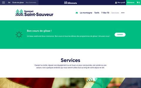 Screenshot of Services Page sommets.com - Services | Sommet Saint-Sauveur - captured Jan. 22, 2017