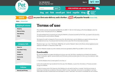 Screenshot of Terms Page petcircle.com.au - Terms of use | Pet Circle - captured Feb. 27, 2016