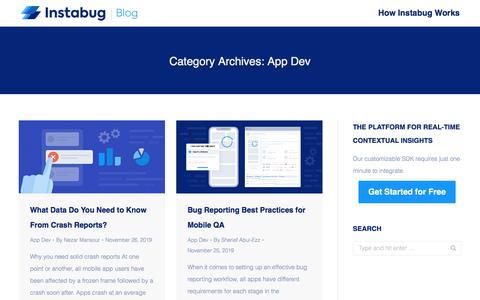 Screenshot of Developers Page instabug.com - App Dev Archives | Instabug Blog - captured Dec. 3, 2019