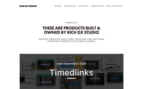 Screenshot of Products Page richdx.com - PRODUCTS — RICH DX STUDIO - captured Oct. 19, 2018