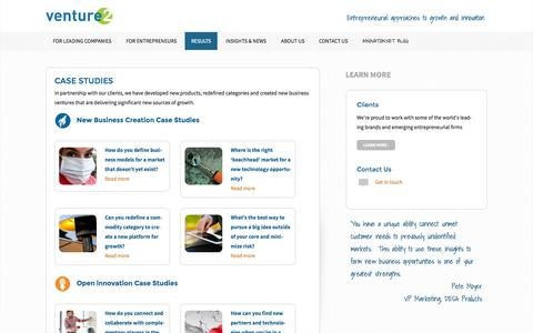 Screenshot of Case Studies Page venture2.com - Case Studies - Venture2 Inc - captured Oct. 7, 2014