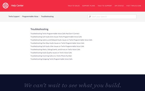 Screenshot of Support Page twilio.com - Troubleshooting – Twilio Support - captured June 13, 2019