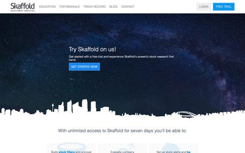 Screenshot of Trial Page skaffold.com - Get started with your free trial of Skaffold today. - captured Oct. 2, 2018