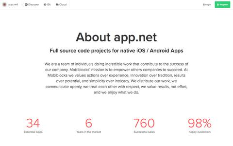 Screenshot of About Page app.net - App.Net - FULL SOURCE CODE PROJECT MARKETPLACE - captured April 24, 2018