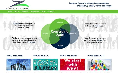 Screenshot of Home Page convergingzone.com - Converging Zone - captured Sept. 25, 2018
