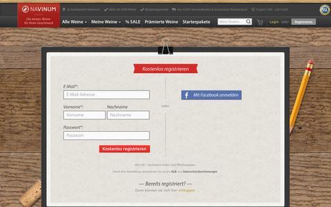 Screenshot of Signup Page navinum.de - Wein-Empfehlungen, Weine online kaufen und bestellen   NAVINUM - captured Oct. 7, 2014