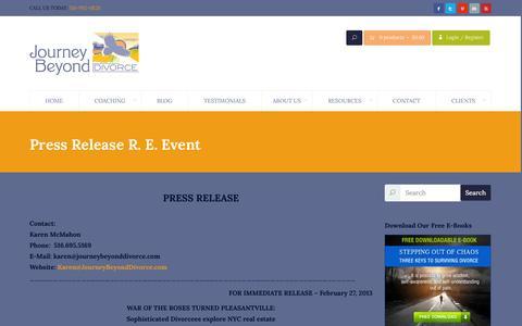 Screenshot of Press Page journeybeyonddivorce.com - Press Release R. E. Event   Journey Beyond Divorce - captured Oct. 6, 2014