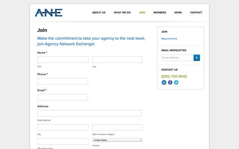 Screenshot of Signup Page ane-agents.com - Agency Network Exchange (ANE) | Join - captured Oct. 4, 2014