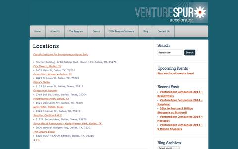 Screenshot of Locations Page venturespur.com - Locations   VentureSpur Accelerator - captured Oct. 26, 2014