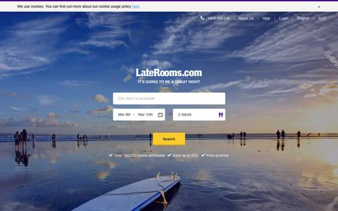 Screenshot of Home Page laterooms.com.au - AsiaRooms | LateRooms - Last Minute Hotel Deals & Cheap Hotels - captured March 9, 2016