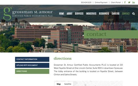 Screenshot of Maps & Directions Page gsacpas.com - DIRECTIONS – Grossman St. Amour CPAs - captured Sept. 30, 2018