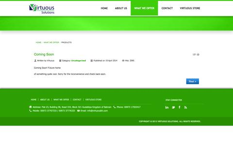 Screenshot of Products Page virtuousbh.com - Products - captured Oct. 26, 2014