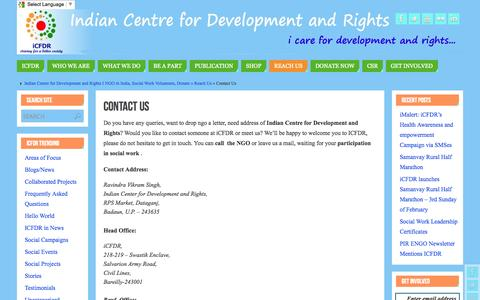 Screenshot of Contact Page icfdr.org - Contact Us   - Indian Centre for Development and Rights I NGO in India, Social Work Volunteers, Donate - captured Oct. 6, 2014