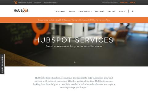 Screenshot of Services Page hubspot.com - HubSpot Services | Premium Resources for Your Inbound Business - captured July 3, 2015