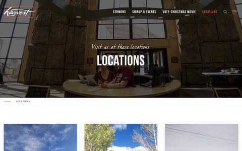 Screenshot of Locations Page harvestchurch.tv - Harvest Church - Word Centered.Community Focused.Growth Expected.Fun Required - captured July 16, 2018