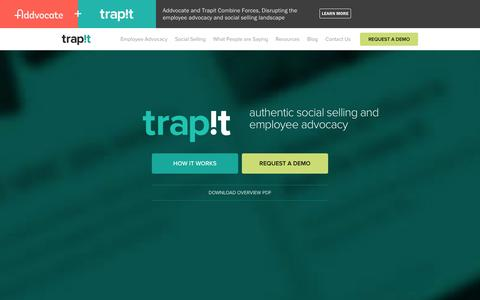 Screenshot of Home Page trap.it - Authentic employee advocacy and social selling - Trapit - captured Dec. 16, 2015