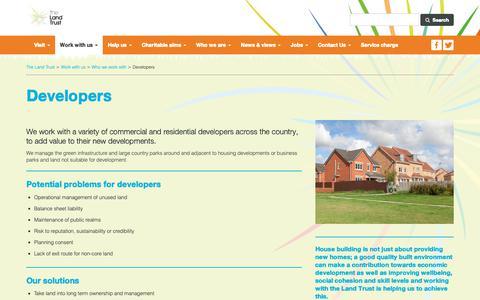 Screenshot of Developers Page thelandtrust.org.uk - Developers - captured Oct. 20, 2018