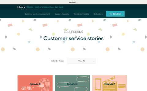 Screenshot of Support Page zendesk.com - Customer service stories | Zendesk Library - captured Aug. 5, 2018