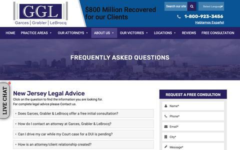 Screenshot of FAQ Page garcesgrabler.com - New Jersey Legal Advice | Garces, Grabler & LeBrocq - captured Dec. 14, 2018