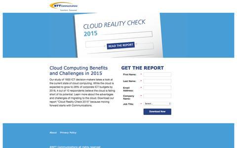 Screenshot of Landing Page ntt.com - NTT Communications - NTT Communications Cloud Reality Check 2015 - captured March 1, 2017