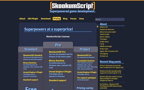 Screenshot of Pricing Page skookumscript.com - Superpowers at a superprice! - SkookumScript - captured Oct. 7, 2017