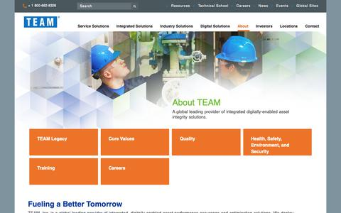 Screenshot of About Page teaminc.com - Optimizing Performance Assurance | TEAM - captured April 9, 2019