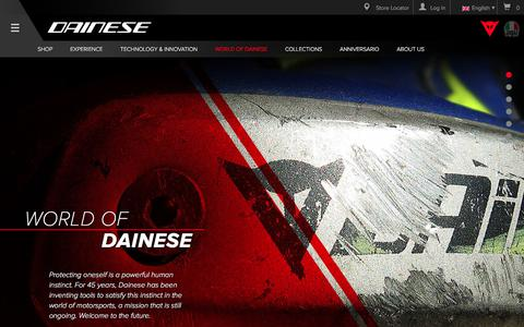Screenshot of Press Page dainese.com - World of Dainese: 45 years of innovation, technology and safety - captured June 3, 2017