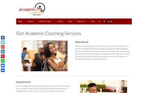 Screenshot of Services Page academiccoachingservices.com - Services - Academic Coaching Services - captured July 28, 2018