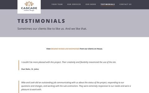 Screenshot of Testimonials Page cascadeoutdoordesign.com - Testimonials – Cascade Outdoor Design - captured Nov. 4, 2018