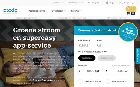 Screenshot of Home Page oxxio.nl - Energieleverancier Oxxio | Superslim. Supervoordelig. - captured Sept. 20, 2018