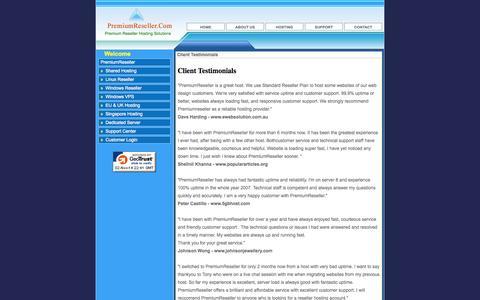 Screenshot of Testimonials Page premiumreseller.com - Hosting Testimonials, Reseller Hosting, Windows Reseller Hosting, Linux Reseller Hosting by PremiumReseller - captured Nov. 2, 2014